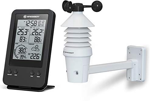 Bresser Wetterstation Funk mit Außensensor 3-in-1 Profi Windmesser mit Anzeige für Windgeschwindigkeit, Temperatur und Luftfeuchtigkeit