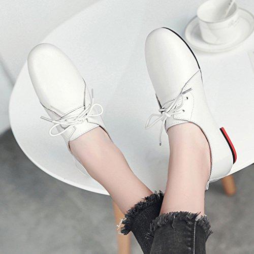 HWF Scarpe donna Primavera Scarpe casual Scarpe singole Scarpe da donna Scarpe piatte da studente in pelle da donna ( Colore : Rosa , dimensioni : 37 ) Bianca