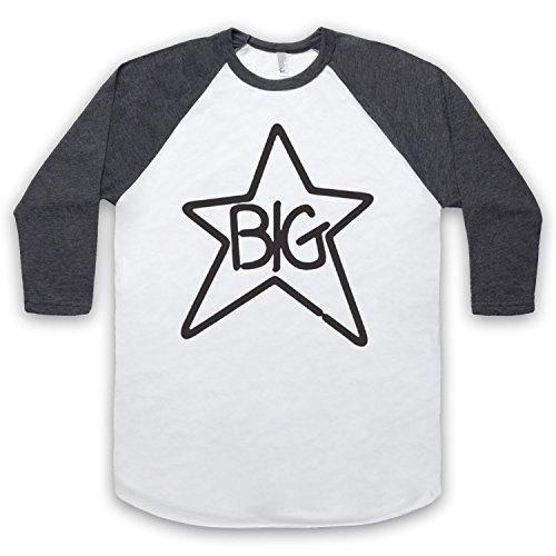Inspiriert durch Big Star Logo Inoffiziell 3/4 Hulse Retro Baseball T-Shirt Weis & Dunkelgrau