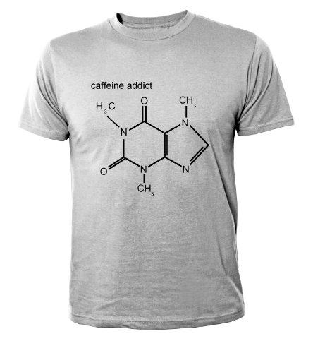 Addict-jugend-t-shirt (Mister Merchandise Cooles Herren T-Shirt Caffeine Addict , Größe: XXL, Farbe: Grau)