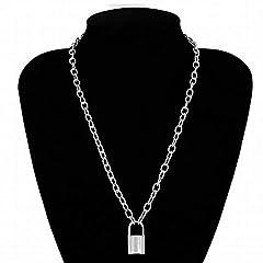 Idea Regalo - Limeinimukete - Collana da Donna con Ciondolo a Forma di Lucchetto Sliver