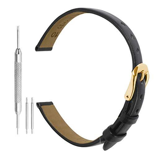 Uhrenarmband Leder Band Leder 10mm Schwarz Uhrenarmband Uhr Lederband Mit Edelstahl-Schnalle Für Frauen Uhr (Vintage-rolex-uhren Für Frauen)