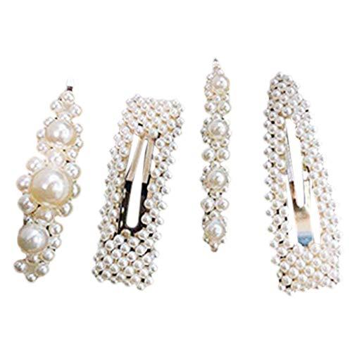 Lomsarsh Internet Promi Beliebte Perle Haarspange - 4er Pack Perle Haarspangen Frauen Gold Haarnadeln Zubehör Hochzeit Braut Snap Haarnadeln Für Damen