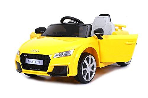 Véhicule électrique pour enfants Audi TT, Jaune, Original Licence, Alimentation par Batterie, Portes d'ouverture, Siège en cuir, 2x Moteur, Batterie 12 V, télécommande 2.4 Ghz, roues EVA douces