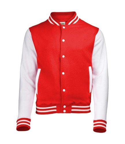 AWDis JH043MOXN/BURM, Giacca Uomo Fire Red / White