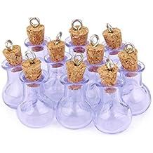 10 Botellas De Corcho Cristal Bombilla Plana Vial Deseando La Botella Lazo Colgante Bricolaje Purpura