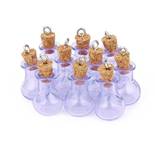 10 Botellas De Corcho Cristal Bombilla Plana Vial Deseando La Botella