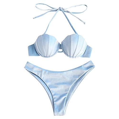 Rosegal Frauen samt Neckholder Muschel Bikini Set Meerjungfrau Badeanzug (S, Hellblau)