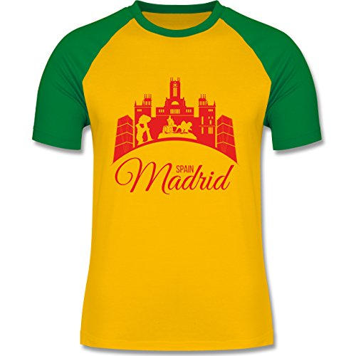 Shirtracer Skyline - Skyline Madrid Spain Spanien - Herren Baseball Shirt Gelb/Grün