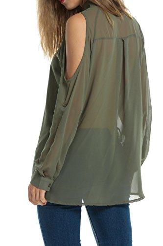 ZEARO Damen Casual trägerlos Bluse Hemd Schluppenbluse T-shirt Top Oberteil Armee Grün