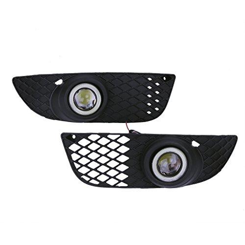 Preisvergleich Produktbild wanoos Front Bumper Nebel Lampe Grills & Angel Eyes LED konvexe Linse Nebel Licht für 2008–2015Mitsubishi Lancer