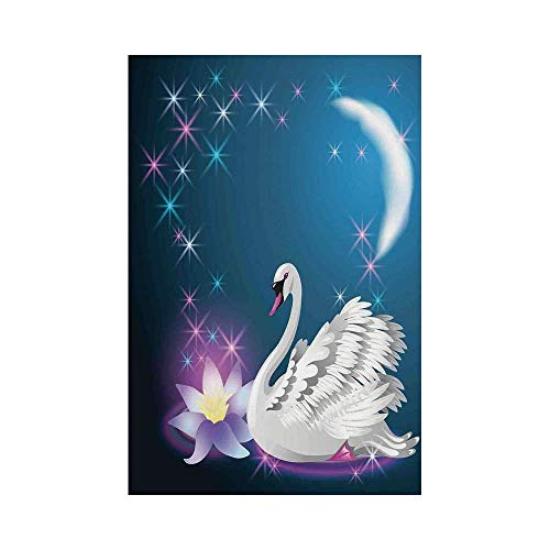 Liumiang Eco-Friendly Manual Custom Garden Flag Demonstration Flag Game Flag,Swan,Magic Lily and Fairy Swan at Night Swimming in Lake Under Moon and Stars Picture Art,Blue Whitee d¨¦COR -