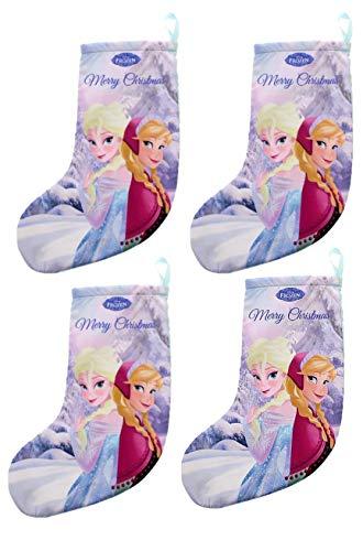 Disney calza di natale frozen con anna ed elsa, 34 cm, decorazione natalizia per bambini, confezione da 4
