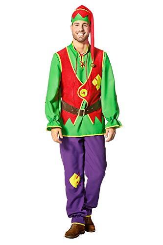 Zwergen-Kostüm Herren Oberteil mit Weste, Hose, Gürtel und Zipfelmütze Fantasy Märchen Karneval Fasching Theater Hochwertige Verkleidung Fastnacht...