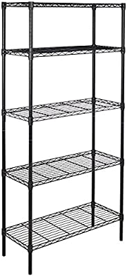 AmazonBasics Height Adjustable 5-Shelves Heavy Duty Rack - Black