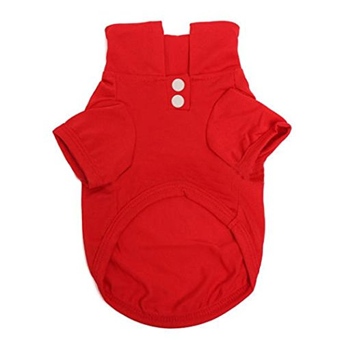 Generic Pet Dog Polo T-shirt Puppy Apparel Doggy Clothes Solid-colored Outfit Red-XS