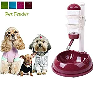 THE DDS STORE Automatic Pet Cat, Dog, Hamster's Water Drinking Dispenser Food Stand Feeder Bowl (Wine Red)