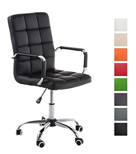 Clp sedia ufficio deli v2 in similpelle - sedia lavoro girevole con braccioli e 5 ruote i poltroncina studio imbottita e trapuntata, telaio in metallo e altezza regolabile 45-54 cm nero