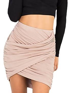Faldas Cortas Mujer Casuales Falda Tubo Ropa Verano Colores Sólidos Elegante Slim Fit Basicas
