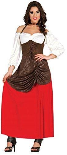 (Damen traditionell Taverne Mädchen Maiden Oktoberfest Dienst Dirndel Kostüm Kleid Outfit - Rot, UK 8-10)