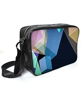 Snoogg Polygon Abstrakt 2543Leder Unisex Messenger Bag für College Schule täglichen Gebrauch Tasche Material PU