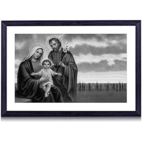 Sacra Famiglia–stampa artistica da parete con cornice portafoto in legno nero 40,6x 30,5cm Framed - Stand Sacra Famiglia