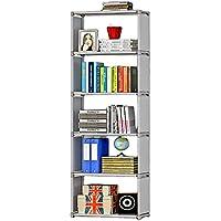 Snazzy 5 Tier Foldable Metal Open Bookshelf, Bookcase, Bookrack ( Grey)