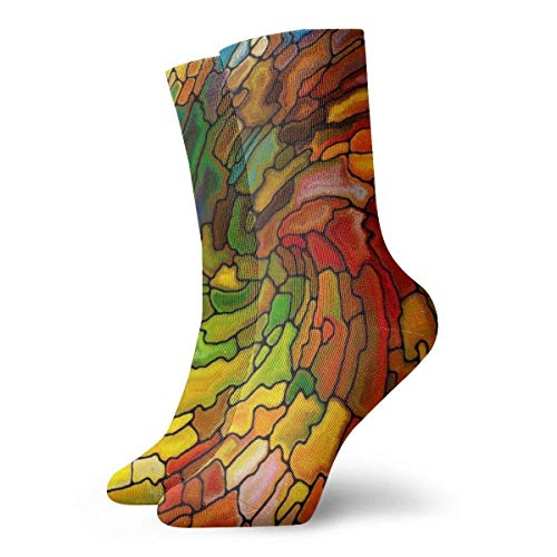 yting Herren Damen Athletic Sport Strümpfe Glasmalerei Muster Lustige Polyester Crew Socken 30cm (Muster Für Glasmalerei)