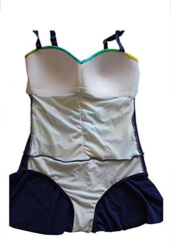 SHISHANG Frauen-Bikini-Badeanzug aus einem Stück der europäischen und amerikanischen Rock-Frauen Badeanzug Druck Bademode Bikini-Frauen Wasserdicht Blue