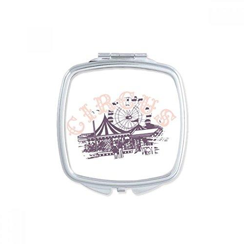 DIYthinker Carousel Amusement Park Square Noir Silhouette Miroir Maquillage Compact Portable Mignon Cadeau Miroirs de Poche à la Main Multicolor