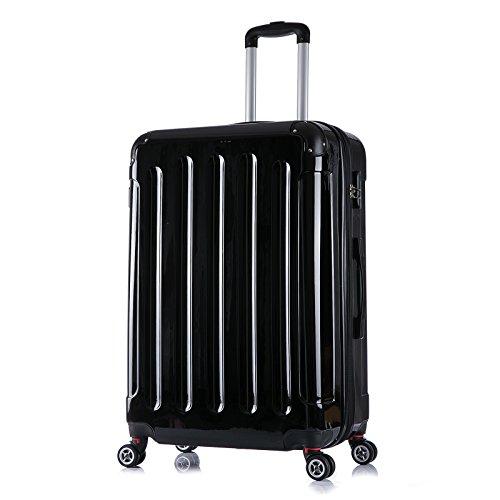 WOLTU RK4211sz, Reise Koffer Trolley Hartschale ABS+PC Hochglanz Volumen erweiterbar Reisekoffer Hartschalenkoffer 4 Rollen, M / L / XL / Set, leicht und günstig, Schwarz (XL, 75 cm & 110 Liter)