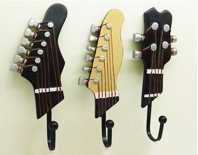 Perchero de 3 ganchos con forma de guitarra, de resina, estilo retro, para colgar toallas y llaves