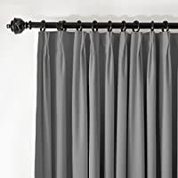ChadMade Pinch Pleat 72W x 96L Blackout Lined Velvet Curtain Drapery Panel For Traverse Rod or Track, Living room Bedroom Meetingroom Club Theater Patio Door (1 Panel), Gray by ChadMade