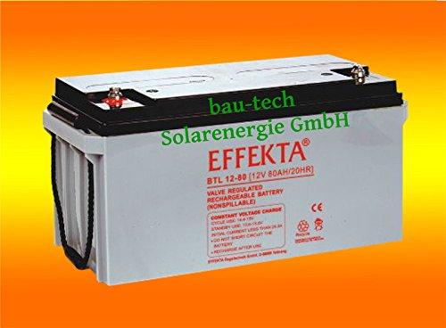 Effekta BTL 12-80 12V 80Amper AGM Solarbatterie für Solar Notstrom Caravan von bau-tech Solarenergie GmbH
