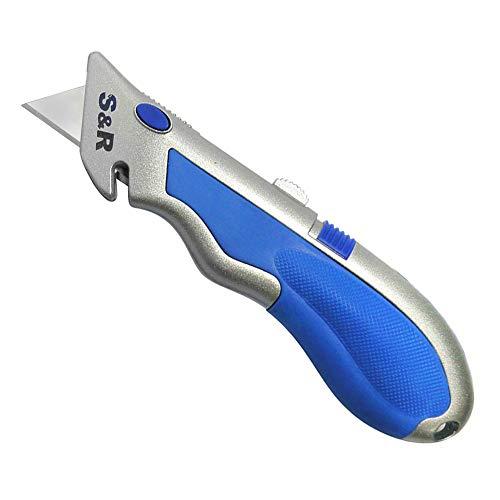 S&R Schnellwechssel - Profi - Teppichmesser/Cuttermesser 165mm, SK5 Klinge 3-stufig, Wechsel per Knopfdruck, 4 Klingen
