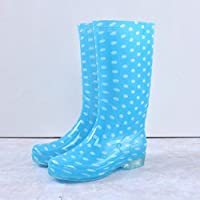 HDDTDYX Rain Boots,Women Comfortable Non-Slip Rainboots Fashion Blue Pvc Waterproof Water Shoes Autumn Wellies Polka Dot Soft Durable Rain Boots