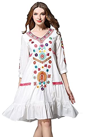 Shineflow Womens Casual 3/4 Sleeve Floral Embroidered Mexican Peasant Dressy Tops Blouses Shirt Dress Tunic