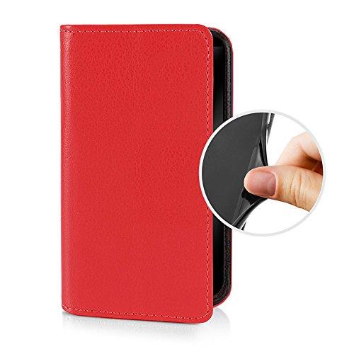 eSPee für -- Sony Xperia M5 -- Schutzhülle Wallet Flip Case Rot mit Silikon Bumper und Magnetverschluß