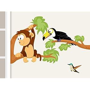 """Wandtattoo""""Affe und Tukan"""" Afrika Dschungel Affe und Tukan Wandaufkleber für Kinderzimmer"""