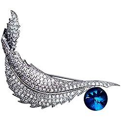 Epinki Brillante Mujeres Broches Fallendes Hoja Forma Bling Broche Boda Joyería con Azul óxido de Circonio