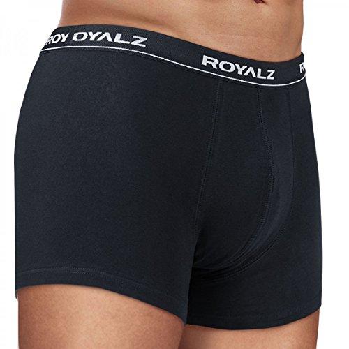 ROYALZ Unterhosen Herren Boxershorts 6er Set klassisch nahtlos für Sport und Freizeit, 6er Pack (95% Baumwolle / 5% Elasthan) 6 x Schwarz