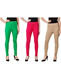 Svadhaa Green Dark Pink Skin Cotton Lycra Leggings(Pack Of 3)