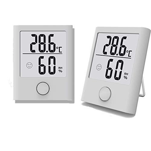 Hygrometer Innen 2 Stück, Digital Tragbares Thermometer Hygrometer Innen/Ausen Raumthermometer Hydrometer Feuchtigkeit mit hohen Genauigkeit, Komfortanzeige für Babyraum, Wohnzimmer, Büro, usw