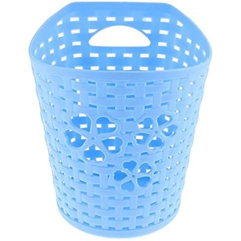Plástico ahueca hacia fuera el corazón de almacenamiento cesta envase 14cm Altura Azul