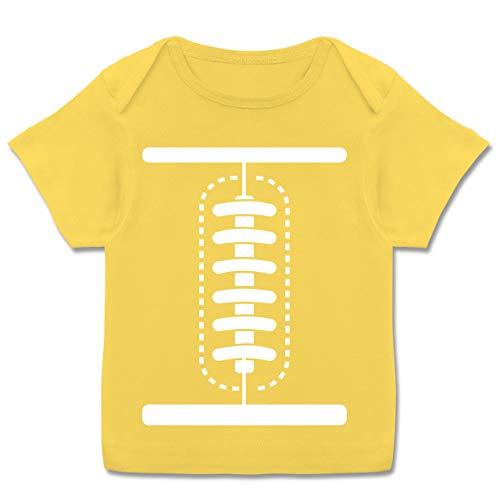 Karneval und Fasching Baby - Football Baby Kostüm - 56-62 (2-3 Monate) - Gelb - E110B - Kurzarm Baby-Shirt für Jungen und ()