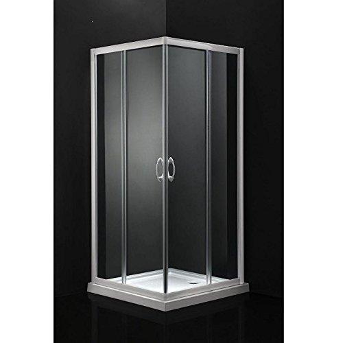 Idro Bric SCACER0098CR Box Doccia Rettangolare in Alluminio, 67-69 x 87-89 x 185, Cromato, Set di 3 Pezzi