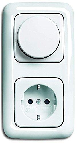 LED Dimmer Komplett-Set BUSCH JÄGER, LED-Drehdimmer -alpinweiß- Reflex SI- 6523-U 102 (6523 U-102) 2 fach Rahmen inkl. Steckdose mit integriertem erhöhtem Berührungsschutz (Kinderschutz)