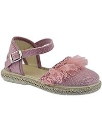 Zapato de Tejido Tipo Lino Ceremonia en Color Rosa Palo Combinado con Tul y Piso de Yute