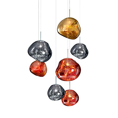 Bureau Hang Tl Lamp.Cwill Modern D30 40cm Melt Pendant Lights Glass Lava Irregular Silver Gold Copper Mirror Hang Lamp For Living Room Led Lighting Amber Color Dia 30cm