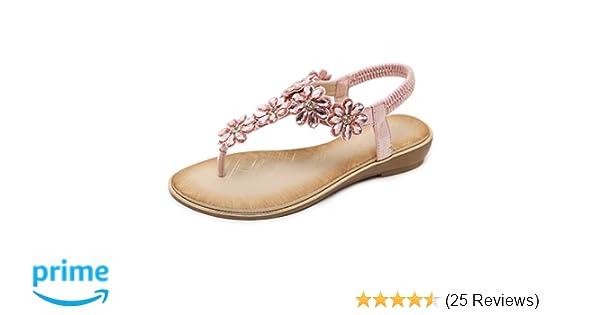 a0d6e16a18 Women's Flat Sandals Ladies Thong Flat Sandals Bohemian Beaded Strap  Sandals Diamante Rhinestone Leather Sandals